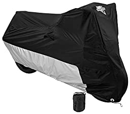 Nelson-Rigg Deluxe Motorcycle Cover, Weather Protection, UV, Air Vents, Heat Shield, Windshield Liner, Compression Bag, Grommets, Medium fits Sport Bikes and Small Cruiser motorcycles