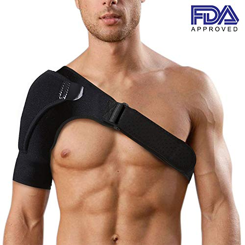 Shoulder Brace with Improved Stability, Breathable Neoprene Shoulder Support, Compression Sleeve, Adjustable Wrap Band for Custom Fit. Relieves Shoulder Pain, AC Joint, Rotator Cuff