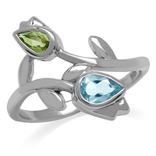 Genuine Blue Topaz & Peridot White Gold Plated 925 Sterling Silver Tulip/Flower Ring Size 9]()