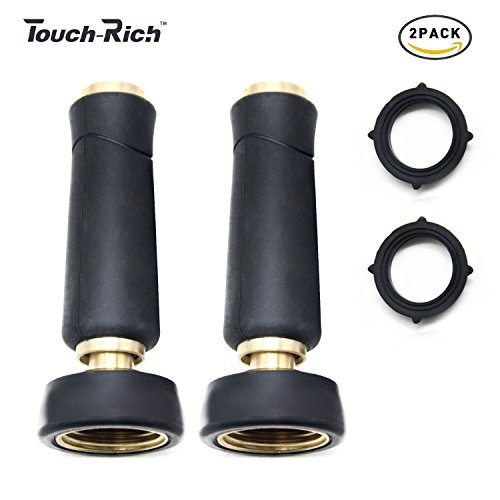 Touch-Rich Ultimate 2PK Solid Brass Nozzle, Heavy Duty Adjustable Twist Hose Nozzle (Rubber Coated Solid Brass 2PK) ()