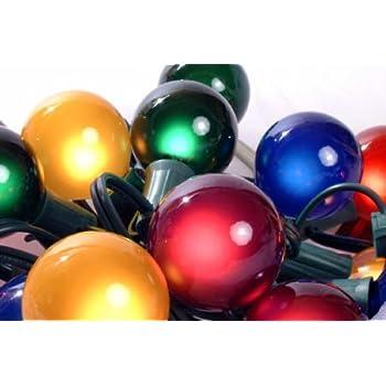 Set Of 15 Multi Satin G50 Globe Christmas Lights Green