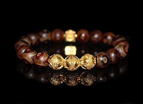 Tibetan Agate and 22 Karat Gold Vermeil Beads Bracelet, Men's Designer Bracelet