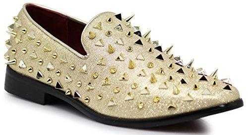 Mens Dress Tuxedo Shoe (Enzo Romeo SPK09 Men's Vintage Spike Dress Loafers Slip On Fashion Shoes Classic Tuxedo Dress Shoes (11 D(M) US, Gold))