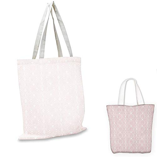 shopping tote bag Pink and White Victorian Style Girly Feminine Pattern with Curly Leaves Hearts and Flowers Blush White travel tote bag (Style Heart Bracelet Victorian)