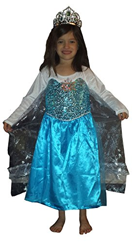 [FROZEN Dresses for Kids - Dress Up Costume - Pretend Play (Child-Small, Elsa)] (Ice Skating Dress Costumes)