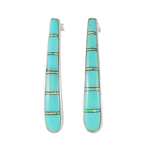 (Turquoise Earrings 925 Sterling Silver & Genuine Turquoise (Select style) (Elegance))