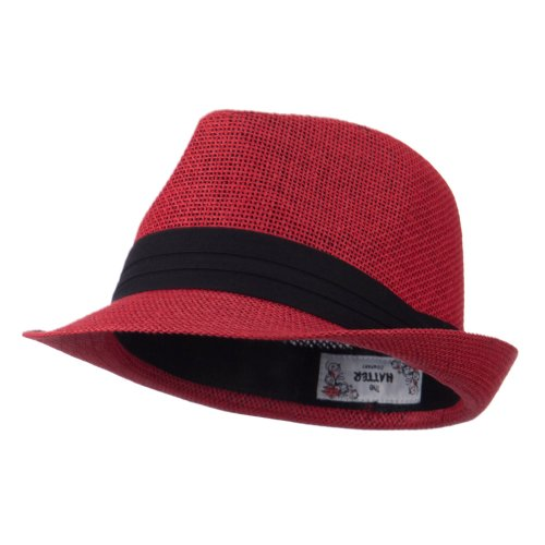 Pleated Hat Band Straw Fedora Hat - Red OSFM