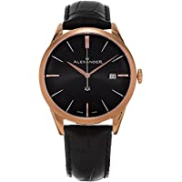 Alexander Heroic Sophisticate Men's Leather Strap Rose Gold Plated Swiss Watch