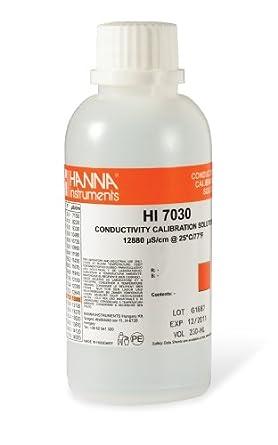Hanna Instruments HI 7030M Conductivity Calibration Solution, 12,880 microsiemens/cm, 230mL Bottle