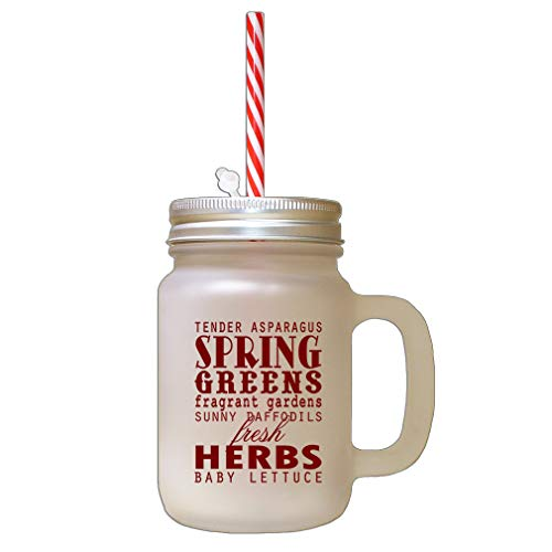 - Maroon Tender Asparagus Spring Greens Fragrant Gardens Frosted Glass Mason Jar With Straw