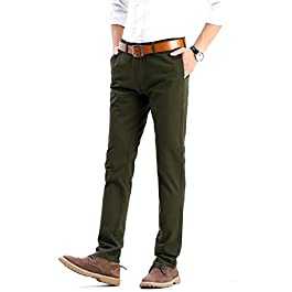 FLY HAWK Mens Slim Fit Tapered Flat Front Casual Pants 100% Cotton Work Pants, 21 Colors Choice