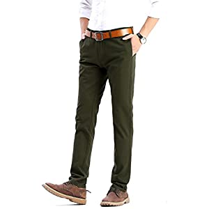 FLY HAWK Mens Slim Fit Tapered Flat Front Casual Pants 100% Cotton Work Pants, 21 Colors For Choice