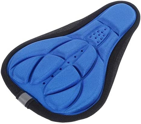 FFRB 自転車バイクアクセサリーのための自転車のサドルの3Dソフトバイクのシートカバー快適な低反発シートクッションサイクリングサドル (Color : Blue)