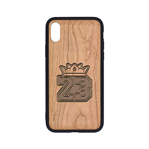 (NBA LAK Number 23 Logo - iPhone Xs Case - Cherry Premium Slim & Lightweight Traveler Wooden Protective Phone Case - Unique, Stylish & Eco-Friendly - Designed for iPhone Xs )