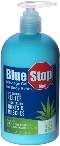 Blue Stop Max Massage Gel for Body Aches, 16 oz - 3 in 1 Product Relieves Body Aches, Supports Joints and Nourishes the ()