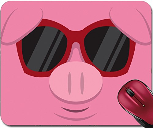 Liili Mousepad IMAGE ID: 18010975 Cartoon pig head with - Imprinted Sunglasses Custom