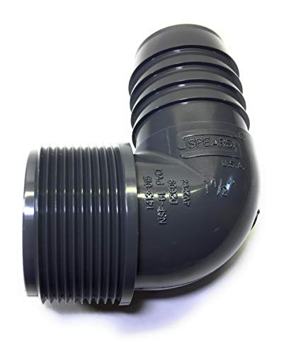 Spears 1413 Series PVC Tube Fitting, 90 Degree Elbow, Schedule 40, Gray, 1-1/2