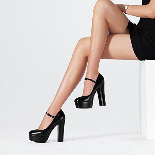 Scarpe Nero con Tacco con Fibbia Alto Basse Alto shoes Tacco con Word JE Scarpe e Tn6EzqwYZ