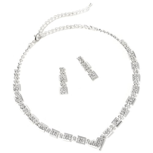 Silver Crystal Rhinestone Rectangle Baguette Shape Small V Chain Necklace & Matching Dangle Earrings Jewelry Set Baguette Necklace