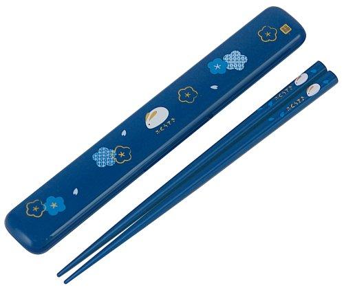 Blue Chopsticks - Skater Japanese Rabbit Blossom Chopstick and Case Blue