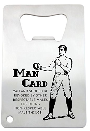 Man Card Bottle Opener by LazerDesigns - Credit Card Size Heavy Duty Stainless Steel Flat Bottle Opener - Laser Engraved Man Card Perfect Gift for Men (Best Man Cards Uk)