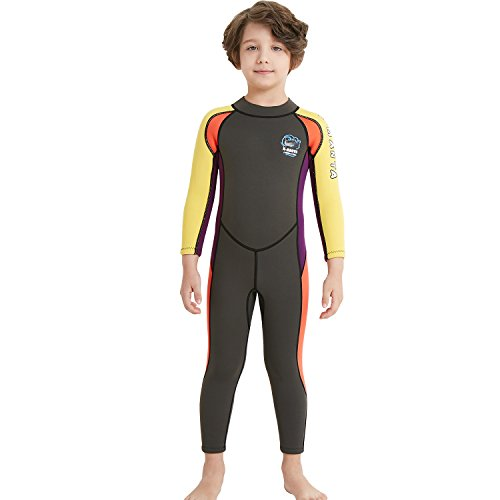 Paddling Suit (Dark Lightning Kids Wetsuit Full Thermal Suit, Boys Neoprene One Piece Fishing Suits, 2mm Long Sleeve Swimsuit for Children Scuba Diving, Surfing, Paddling, Swimming, Grey, XL Size)