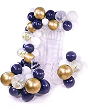 PuTwo Bleu Blanc Doré Ballon, 50pcs 12 Pouces Bleu Marine Ballon Baudruche Blanc Or Ballons Latex pour Roi Lion Anniversaire, Decoration Petit Prince, Deco Bapteme Garcon, Mariage Bleu Roi et Or
