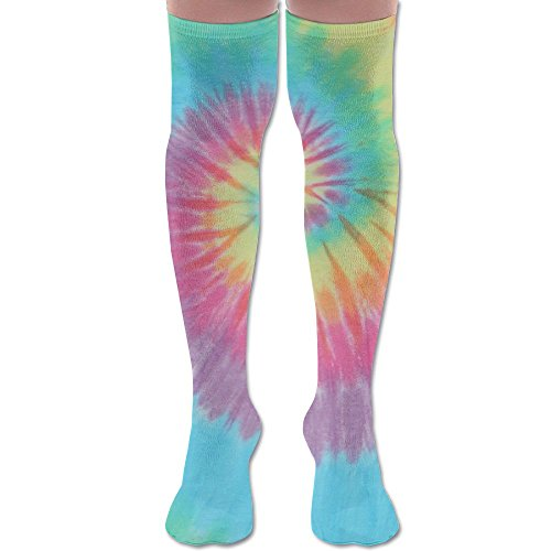 (Pastel Spiral Tie Dye Polyester Cotton Over Knee Leg High Socks Sexy Unisex Thigh Stockings Cosplay Boot Long Tube Socks For Sports Gym Yoga Hiking Cycling Running Nurses)