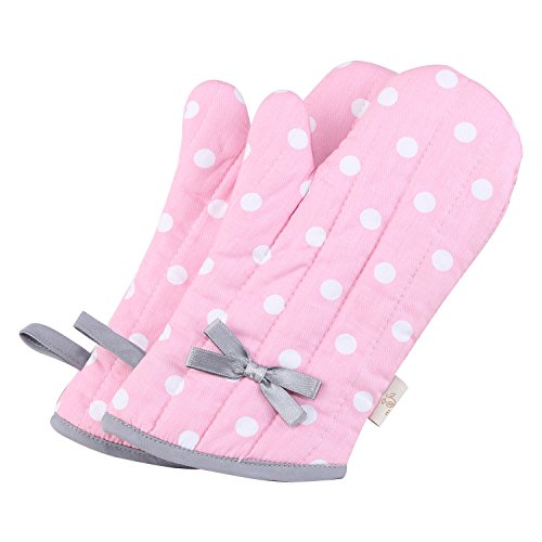 NEOVIVA Kids Oven Mitts for Children Play Kitchen, Heat Resistant Kitchen Mitts for Kids, Set of 2, Polka Dots Pink