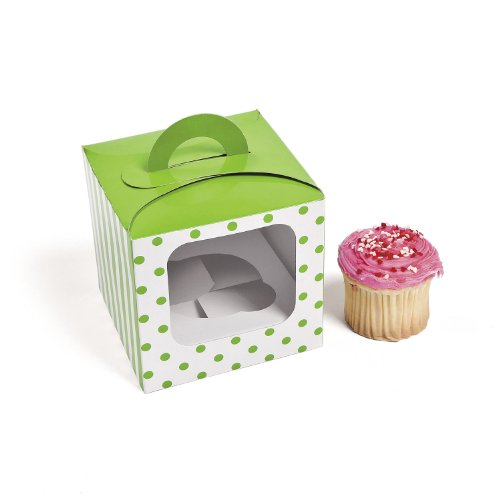 Lime Green Polka Dot Cupcake Boxes, 12 Count