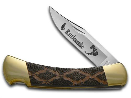 BUCK 110 Black Pearl Corelon Rattlesnake Skin Folding Hunter Stainless Custom Pocket Knife Knives