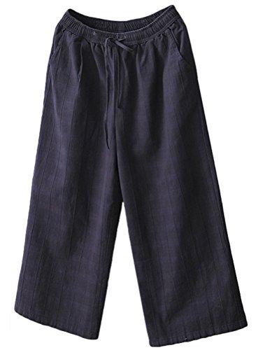 Minibee Women's Linen Elastic Waist Check Wide Leg Pants With Drawstring Navy