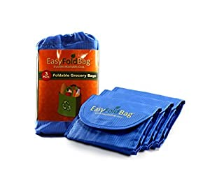 Easy Fold Bag - Reusable Grocery Bags - 3 Pack, Cobalt Blue by Easy Fold Bag
