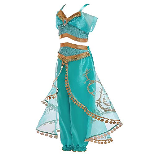 Girls Halloween Costumes Aladdin Magic lamp Princess Jasmine Costumes(140cm(Height 55 Inch))