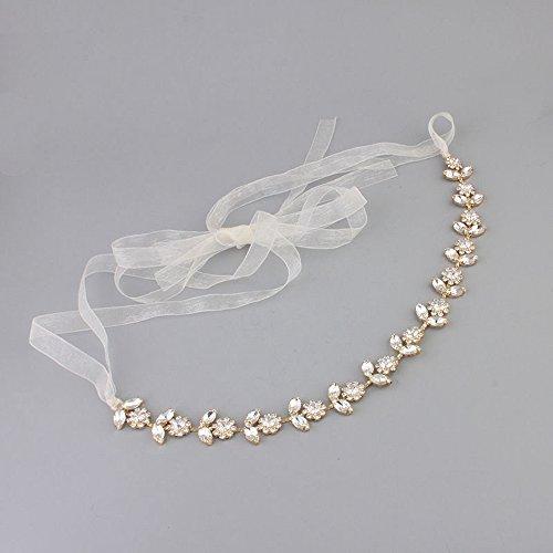 Crystal Bridal Bridesmades Flower Design Gold Hair Headband Headpiece Hair Vine Tiara Belt Delicate Vine Design