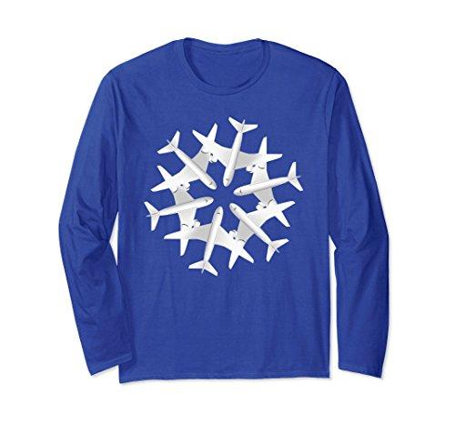 Unisex Airplane Snowflake Christmas Airlines Xmas Noel Long Sleeve 2Xl Royal Blue