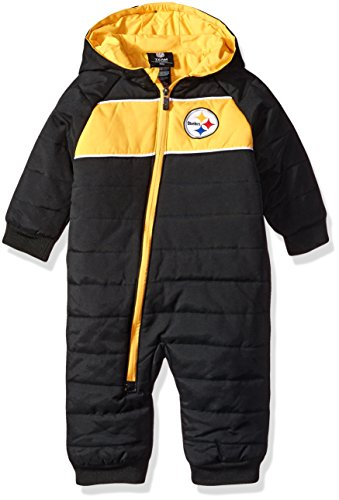 Outerstuff NFL Infant Kick-Off Puffer Onesie-Black-18 Months, Pittsburgh Steelers
