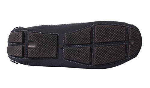 Caihee Suède Loafers Voor Heren Rijdende Schoenen Mocassins Met Veterdetails Blauw