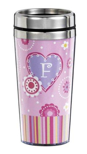 Ganz Sweetheart Travel Mug-F * Monogrammed Initial Coffee Cup (Ganz Mugs Travel)