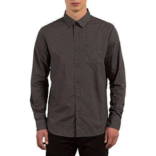 Volcom Men's Everett Solid Cotton Woven Long Sleeve Shirt, Asphalt Black, Medium