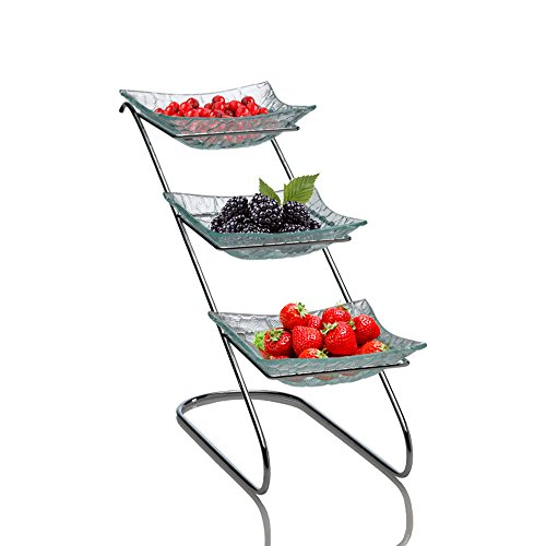 Red Square Platter - Tall 3 Tier Serving Platter - Square Glass on Chrome Rack for Desserts, Tea Party, Buffet (Removable Plates)