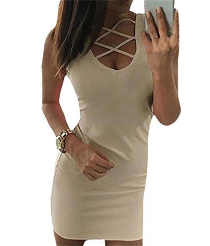 Domple Club Hollow Deep O Mini Dress Out Neck Bandage Sexy Beige Womens Bodycon FqWrFSz