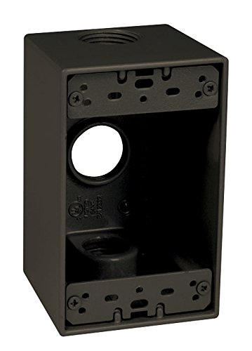 - TayMac SD375Z Weatherproof Box, 1-Gang, (3) 4-Inch Outlets, Deep, Bronze