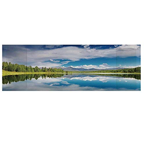 Lakehouse Decor Cotton & Linen Microwave Oven Protective Cover,Lake and Reflection Scene at The Skirts of Altai Mountain and Fresh Spring Forest Cover for Kitchen,36