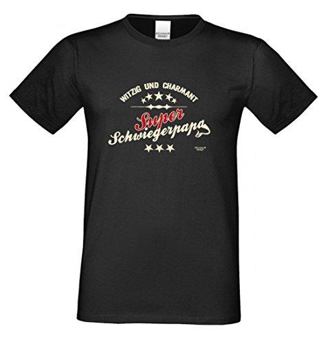T-Shirt als Geschenk für den Vater - Witzig und Charmant - Ein Danke für den Super Schwiegerpapa mit Humor zum Vatertag, Größe 3XL Farbe 01-Schwarz