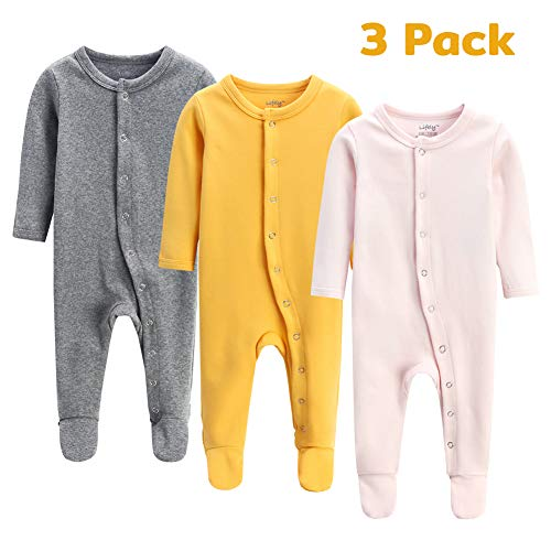 ajamas Footed Baby Boy Girl Pajamas Cotton Infant Sleeper Footie 6-9 Months Romper Overall Baby Pajama Set Long Sleeve with Sleeve Cuff ()