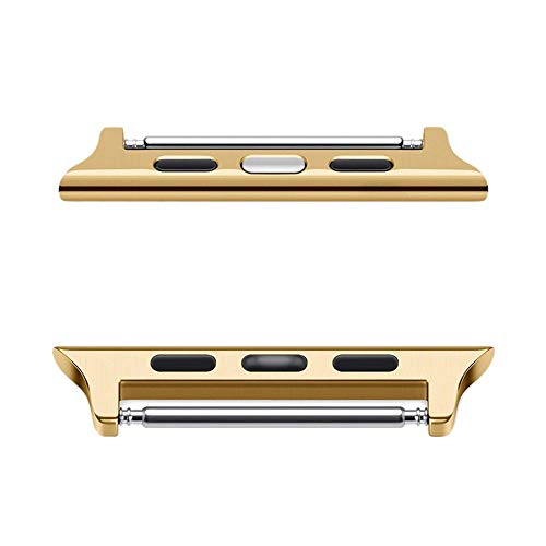 Cywulin Compatible with Apple Watch Adapters 38mm 42mm 40mm 40mm Stainless Steel iWatch Connectors Clasp Buckle Hardware for Series 4 Series 3 Series 3 Series 1 Edition Nike+ (38mm40mm, Gold)