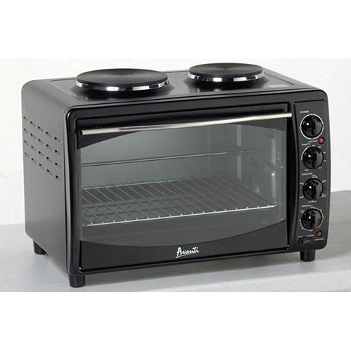 Avanti MKB42B Full Range Temperature Control, Multi-Function Counter Top Convection Oven with Duel Burner Cook-Top, Rotisserie, in Black Avanti Toaster And Convection Ovens