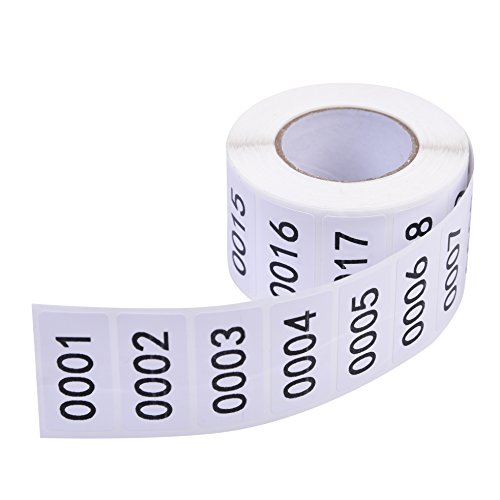 Inventory Labels - Consecutive Number Labels Inventory Stickers - Product Claiming Labels 1-1000 Clothes Numbers, Moving Box Numbering 0.75