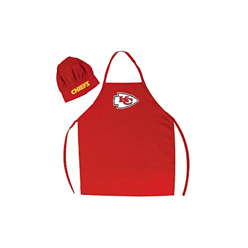 LA Auto Gear Men's Chef Hat & Apron - NFL - Kansas City Chiefs - Team Logo BBQ Barbeque Cook Grill Home Tailgating - Bbq Logo Apron